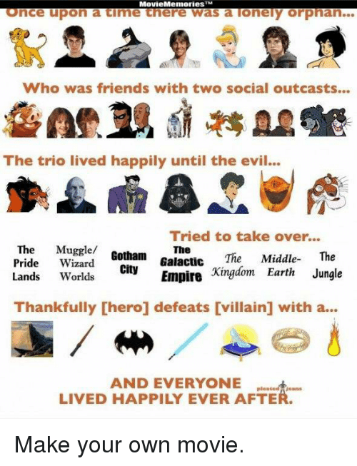 Social Outcast: Movie Memories TM  Once upon a time there was a lonely orphan.  Who was friends with two social outcasts...  The trio lived happily until the evil...  Tried to take over...  The  Muggle/  The  Pride  Wizard  Gotham  The Middle  The  Galactic  Lands  Worlds  City  Kingdom Earth Jungle  Empire  Thankfully [hero] defeats [villain] with a...  AND EVERYONE  LIVED HAPPILY EVER AFTE Make your own movie.