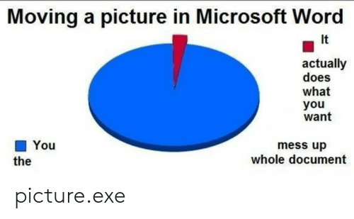 Microsoft: Moving a picture in Microsoft Word  It  actually  does  what  you  want  You  mess up  whole document  the picture.exe