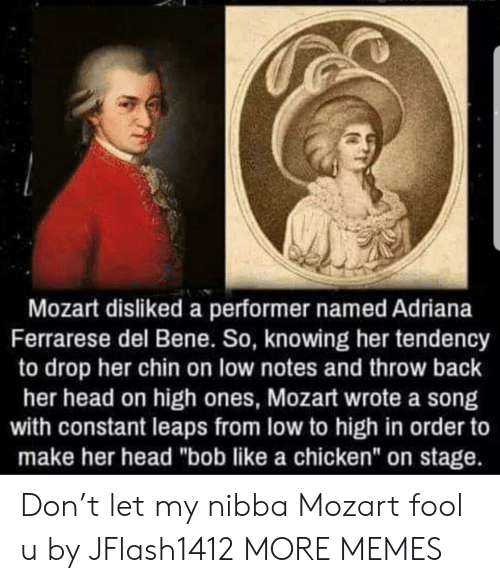 "bene: Mozart disliked a performer named Adriana  Ferrarese del Bene. So, knowing her tendency  to drop her chin on low notes and throw back  her head on high ones, Mozart wrote a song  with constant leaps from low to high in order to  make her head ""bob like a chicken"" on stage. Don't let my nibba Mozart fool u by JFlash1412 MORE MEMES"