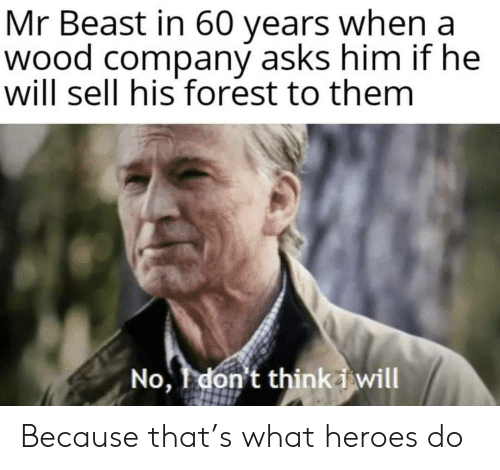 Heroes, Asks, and Company: Mr Beast in 60 years when a  wood company asks him if he  will sell his forest to them  No, don't thinki will Because that's what heroes do