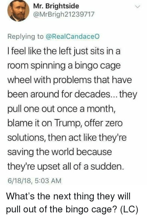 Memes, Zero, and Trump: Mr. Brightside  @MrBrigh21239717  Replying to @RealCandaceO  I feel like the left just sits in a  room spinning a bingo cage  wheel with problems that have  been around for decades... they  pull one out once a month,  blame it on Trump, offer zero  solutions, then act like they're  saving the world because  they're upset all of a sudden.  6/18/18, 5:03 AM What's the next thing they will pull out of the bingo cage? (LC)