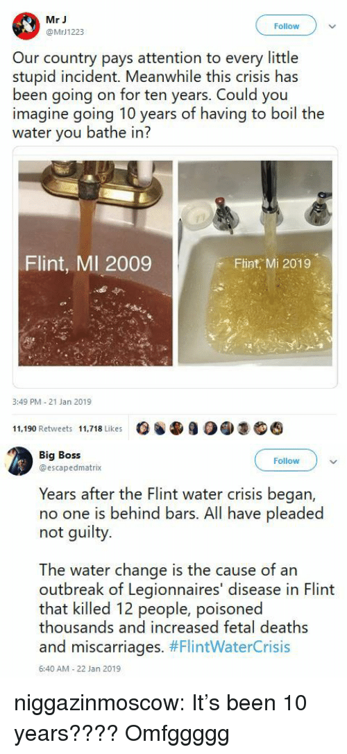 Bathe: Mr J  @MrJ1223  Follow  Our country pays attention to every little  stupid incident. Meanwhile this crisis has  been going on for ten years. Could you  imagine going 10 years of having to boil the  water you bathe in?  Flint, MI 2009  Flint, Mi 2019  3:49 PM 21 Jan 2019  11,190 Retweets 11,718 Likes   Big Boss  @escapedmatrix  Followv  Years after the Flint water crisis began,  no one is behind bars. All have pleaded  not guilty.  The water change is the cause of an  outbreak of Legionnaires' disease in Flint  that killed 12 people, poisoned  thousands and increased fetal deaths  and miscarriages. #FlintWaterCrisis  6:40 AM-22 Jan 2019 niggazinmoscow:   It's been 10 years????   Omfggggg