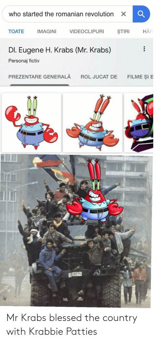 country: Mr Krabs blessed the country with Krabbie Patties