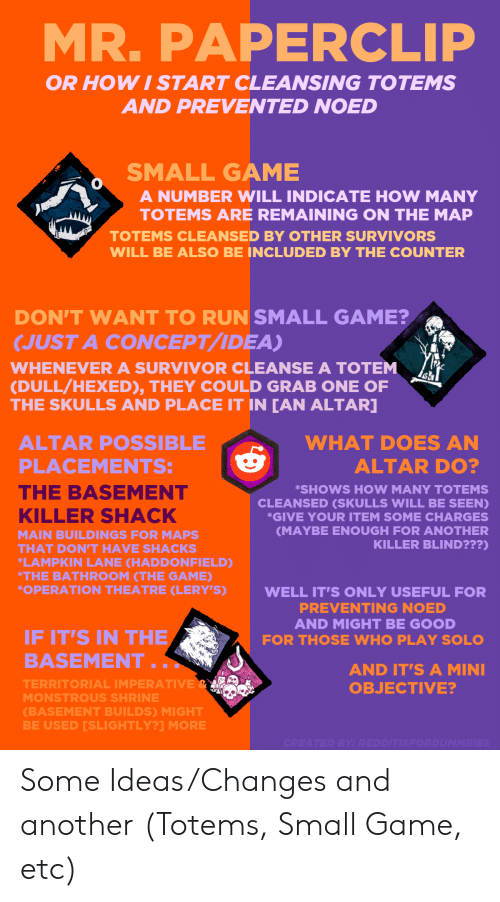 Lampkin: MR. PAPERCLIP  OR HOWI START CLEANSING TOTEMS  AND PREVENTED NOED  SMALL GAME  A NUMBER WILL INDICATE HOW MANY  TOTEMS ARE REMAINING ON THE MAP  TOTEMS CLEANSED BY OTHER SURVIVORS  WILL BE ALSO BE INCLUDED BY THE COUNTER  DON'T WANT TO RUN SMALL GAME?  JUST A CONCEPT/IDEA)  WHENEVER A SURVIVOR CLEANSE A TOTEM  (DULL/HEXED), THEY COULD GRAB ONE OF  THE SKULLS AND PLACE IT IN [AN ALTAR]  ALTAR POSSIBLE  WHAT DOES AN  PLACEMENTS:-1  y  ALTAR DO?  THE BASEMENT  SHOWS HOW MANY TOTEMS  CLEANSED (SKULLS WILL BE SEEN)  GIVE YOUR ITEM SOME CHARGES  MAYBE ENOUGH FOR ANOTHER  KILLER BLIND???)  KILLER SHACK  MAIN BUILDINGS FOR MAPS  THAT DON'T HAVE SHACKS  LAMPKIN LANE CHADDONFIELD)  THE BATHROOM (THE GAME  OPERATION THEATRE CLERY'S)  WELL IT'S ONLY USEFUL FOR  PREVENTING NOED  AND MIGHT BE GOOD  IF IT'S IN THE  BASEMENT.  FOR THOSE WHO PLAY SOL  AND IT'S A MINI  OBJECTIVE?  TERRITORIAL IMPERATIVE  MONSTROUS SHRINE  (BASEMENT BUILDS) MIGHT  BE USED [SLIGHTLY?1 MORE Some Ideas/Changes and another (Totems, Small Game, etc)