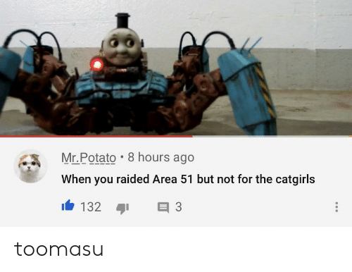 Potato, Area 51, and You: Mr.Potato 8 hours ago  When you raided Area 51 but not for the catgirls  132  3 toomasu