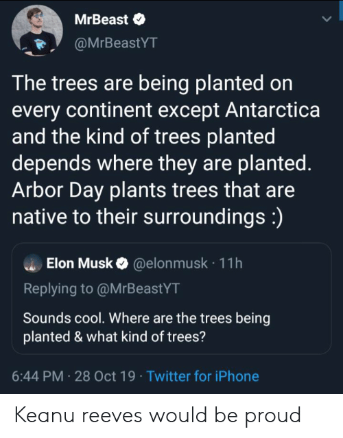 Iphone, Twitter, and Cool: MrBeast  @MrBeastYT  The trees are being planted on  every continent except Antarctica  and the kind of trees planted  depends where they are planted.  Arbor Day plants trees that are  native to their surroundings:)  Elon Musk@elon musk 11h  Replying to @MrBeastYT  Sounds cool. Where are the trees being  planted & what kind of trees?  6:44 PM 28 Oct 19 Twitter for iPhone Keanu reeves would be proud