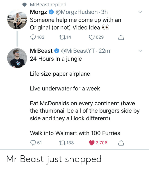 Life, McDonalds, and Walmart: MrBeast replied  Morgz@MorgzHudson 3h  Someone help me come up with an  Original (or not) Video Idea  t14  182  629  MrBeast  @MrBeastYT.22m  24 Hours In a jungle  Life size paper airplane  Live underwater for a week  Eat McDonalds on every continent (have  the thumbnail be all of the burgers side by  side and they all look different)  Walk into Walmart with 10O Furries  138  61  2,706 Mr Beast just snapped