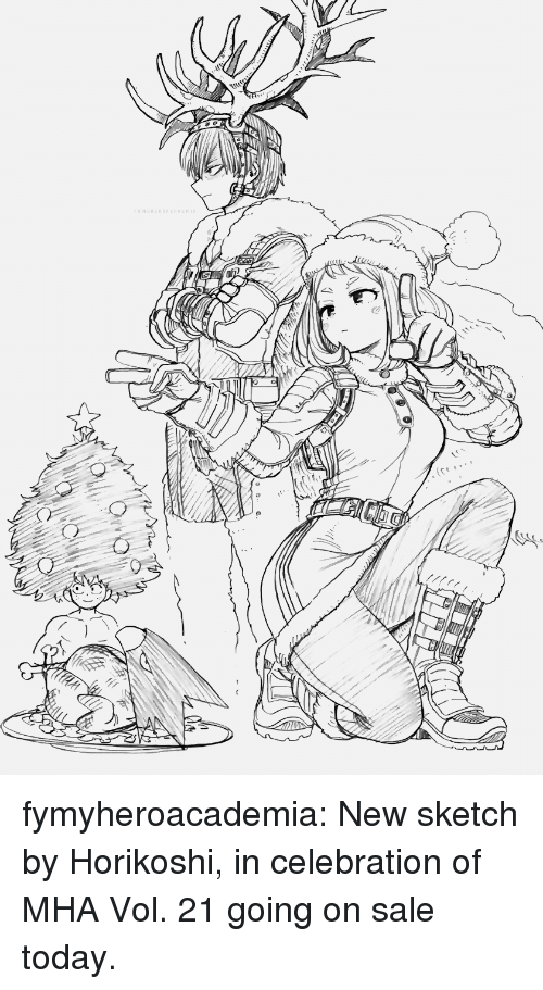Tumblr, Blog, and Http: MSHERORERDE  (C fymyheroacademia: New sketch by Horikoshi, in celebration of MHA Vol. 21 going on sale today.