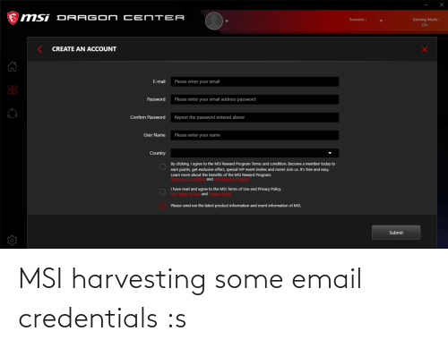 Harvesting: MSI harvesting some email credentials :s