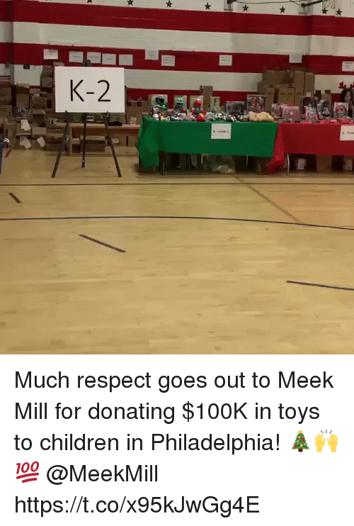 Children, Meek Mill, and Respect: Much respect goes out to Meek Mill for donating $100K in toys to children in Philadelphia! 🎄🙌💯 @MeekMill https://t.co/x95kJwGg4E