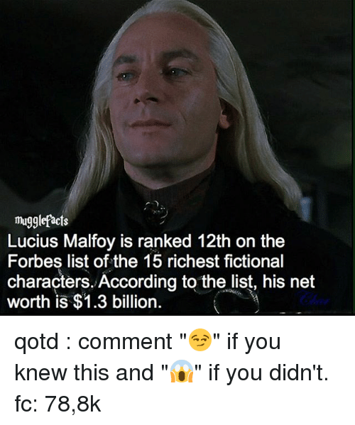 "Memes, Forbes, and 🤖: mugglefacts  Lucius Malfoy is ranked 12th on the  Forbes list of the 15 richest fictional  characters. According to the list, his net  worth is $1.3 billion qotd : comment ""😏"" if you knew this and ""😱"" if you didn't. fc: 78,8k"
