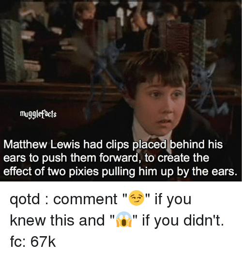 "pixies: mugglefacts  Matthew Lewis had clips placed behind his  ears to push them forward, to create the  effect of two pixies pulling him up by the ears qotd : comment ""😏"" if you knew this and ""😱"" if you didn't. fc: 67k"