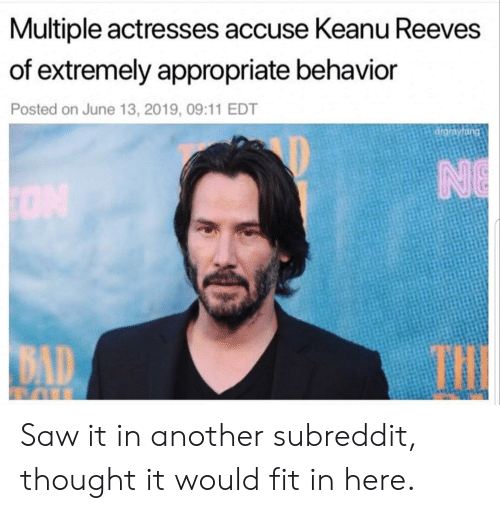 Bad, Saw, and Thought: Multiple actresses accuse Keanu Reeves  of extremely appropriate behavior  Posted on June 13, 2019, 09:11 EDT  drgrayfang  NE  ON  THE  BAD Saw it in another subreddit, thought it would fit in here.