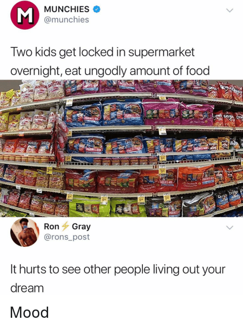 Food, Memes, and Mood: MUNCHIES  @munchies  Two kids get locked in supermarket  overnight, eat ungodly amount of food  Flavor Me  59  PARENTS  Ron Gray  @rons_post  It hurts to see other people living out your  dream Mood