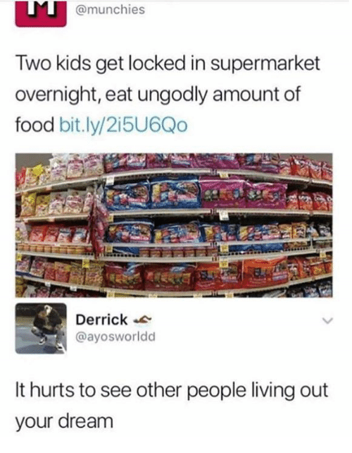 Dank, Food, and Munchies: @munchies  Two kids get locked in supermarket  overnight, eat ungodly amount of  food bit.ly/2i5U6Qo  Derrick  @ayosworldd  It hurts to see other people living out  your dream