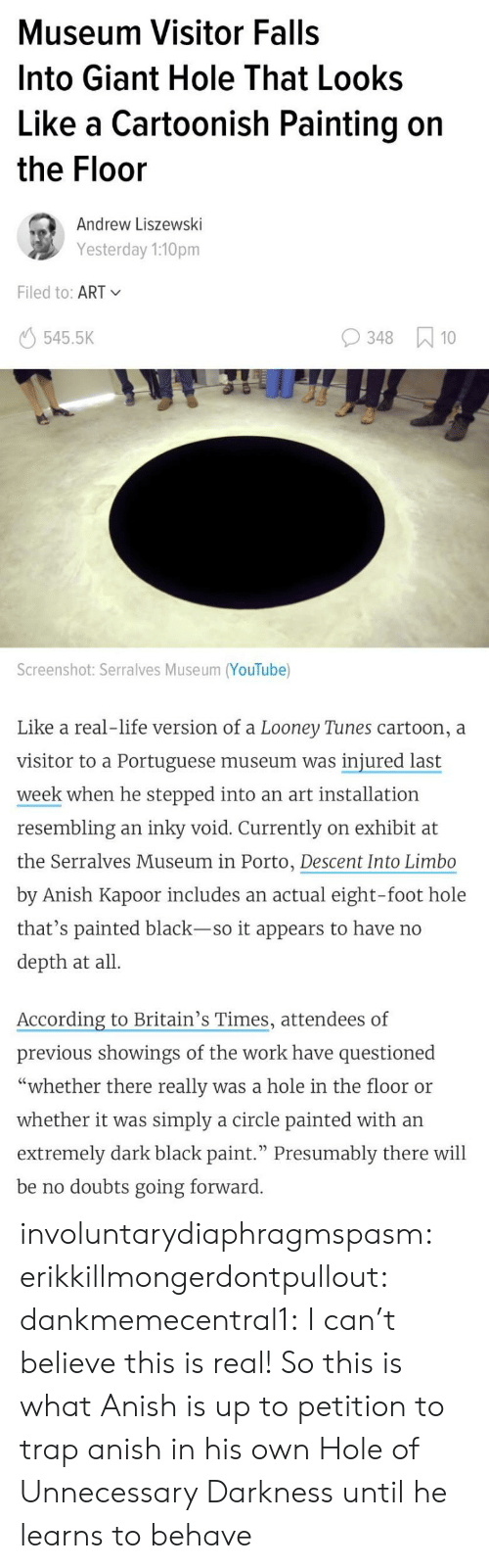 "Life, Looney Tunes, and Target: Museum Visitor Falls  Into Giant Hole That Looks  Like a Cartoonish Painting on  the Floor  Andrew Liszewski  Yesterday 1:10pm  Filed to: ART  545.5K  348 10  Screenshot: Serralves Museum (YouTube)  Like a real-life version of a Looney Tunes cartoon, a  visitor to a Portuguese museum was injured last  week when he stepped into an art installation  resembling an inky void. Currently on exhibit at  the Serralves Museum in Porto, Descent Into Limbo  by Anish Kapoor includes an actual eight-foot hole  that's painted black-so it appears to have no  depth at all  According to Britain's Times, attendees of  previous showings of the work have questioned  ""whether there really was a hole in the floor or  whether it was simply a circle painted with an  extremely dark black paint."" Presumably there will  be no doubts going forward involuntarydiaphragmspasm: erikkillmongerdontpullout:  dankmemecentral1: I can't believe this is real!  So this is what Anish is up to   petition to trap anish in his own Hole of Unnecessary Darkness until he learns to behave"
