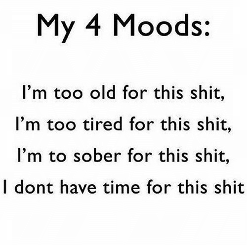 dont-have-time: My 4 Moods:  I'm too old for this shit,  I'm too tired for this shit,  I'm to sober for this shit,  I dont have time for this shit