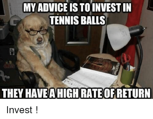 Advice, Tennis, and Invest: MY ADVICE IS TOINVEST IN  TENNIS BALLS  THEY HAVEAHIGH RATE OF RETURN Invest !
