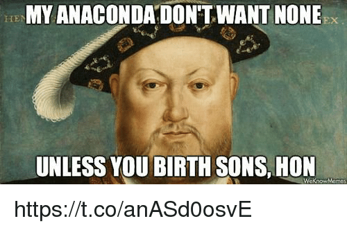 Hon, You, and Birth: MY ANACONDADON'T.WANT NONE  HEN  UNLESS YOU BIRTH SONS.HON  WeknowMemes https://t.co/anASd0osvE