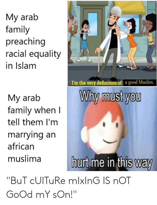 """Family, Muslim, and Definition: My arab  family  preaching  racial equality  in Islam  I'm the very definition of a good Muslim.  Why must you  My arab  family when  tell them I'm  marrying an  african  muslima  hurt me in this way """"BuT cUlTuRe mIxInG IS nOT GoOd mY sOn!"""""""
