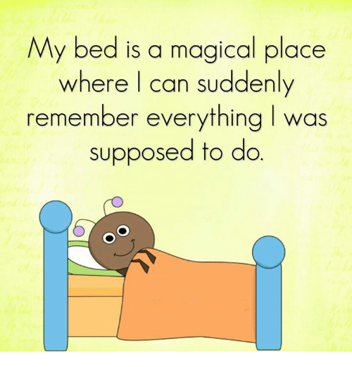A Magical Place: My bed is a magical place  where can suddenly  remember everything I was  supposed to do