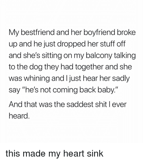"My Bestfriend: My bestfriend and her boyfriend broke  up and he just dropped her stuff off  and she's sitting on my balcony talking  to the dog they had together and she  was whining and I just hear her sadly  say ""he's not coming back baby.""  And that was the saddest shit l ever  heard this made my heart sink"