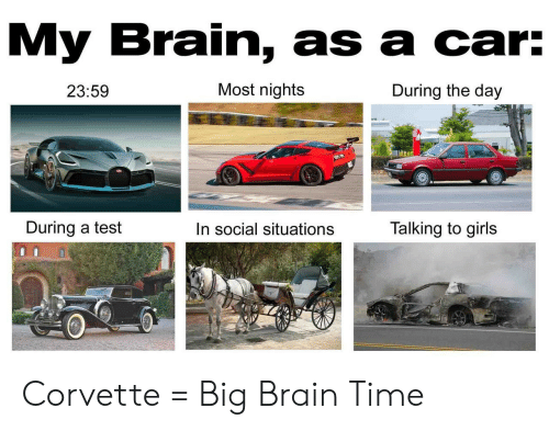 Girls, Brain, and Corvette: My Brain, as a car:  Most nights  During the day  23:59  During a test  Talking to girls  In social situations Corvette = Big Brain Time