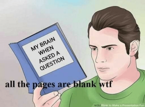 Wtf, Brain, and How To: MY BRAIN  WHEN  ASKED A  QUESTION  all the pages are blank wtf  wili How to Make a Presentation Fun
