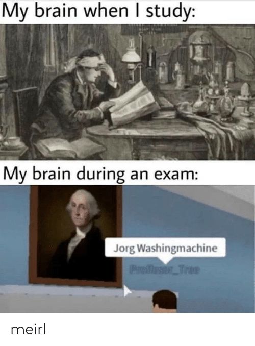 Brain, MeIRL, and Study: My brain when study:  My brain during an exam:  Jorg Washingmachine  Profleser Trae meirl