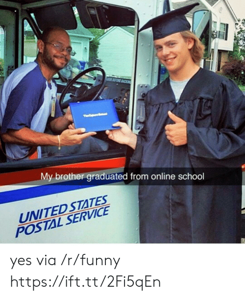 Online School: My brother graduated from online school  UNITED STATES  POSTAL SERVICE yes via /r/funny https://ift.tt/2Fi5qEn