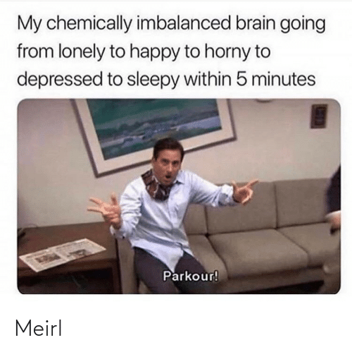 Within: My chemically imbalanced brain going  from lonely to happy to horny to  depressed to sleepy within 5 minutes  Parkour! Meirl