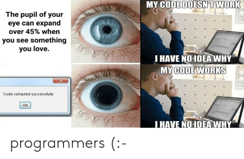 My Code Doesnt Work: MY CODE DOESN'T WORK  The pupil of your  eye can expand  over 45% when  you see something  you love.  I HAVE NO IDEA WHY  MY WORKS  CODE  Code compiled successfully  OK  HAVE NO IDEAWHY programmers (:-