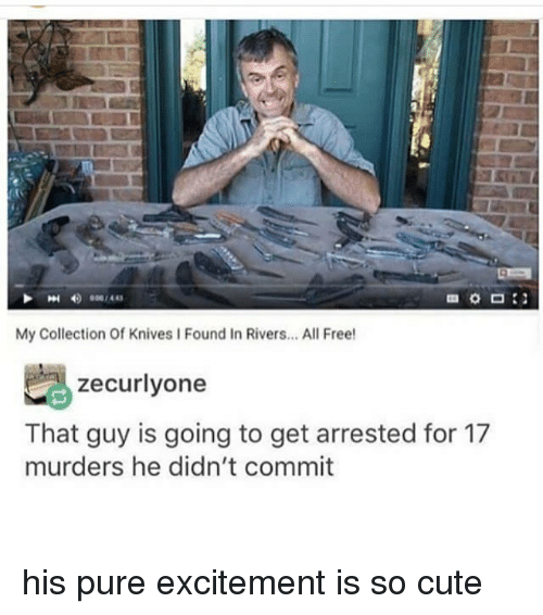 Cute, Memes, and Free: My Collection Of Knives I Found In Rivers... All Free  zecurlyone  That guy is going to get arrested for 17  murders he didn't commit his pure excitement is so cute