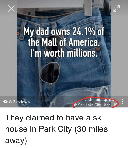 America, Dad, and House: My dad owns 24.1% of  the Mall of America.  I'm worth millions.  O 8.3k views  asteroid spiller :  1Jh Salt Lake City, Utah, U