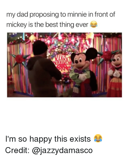 proposing: my dad proposing to minnie in front of  mickey is the best thing ever I'm so happy this exists 😂 Credit: @jazzydamasco