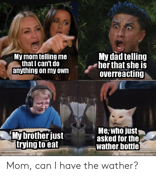 Dad, Reddit, and Mom: My dad telling  her that she is  overreacting  My mom telling me  that I can't do  anything on my own  Me who just  asked for the  wather bottle  My brotherjust  trying to eat Mom, can I have the wather?