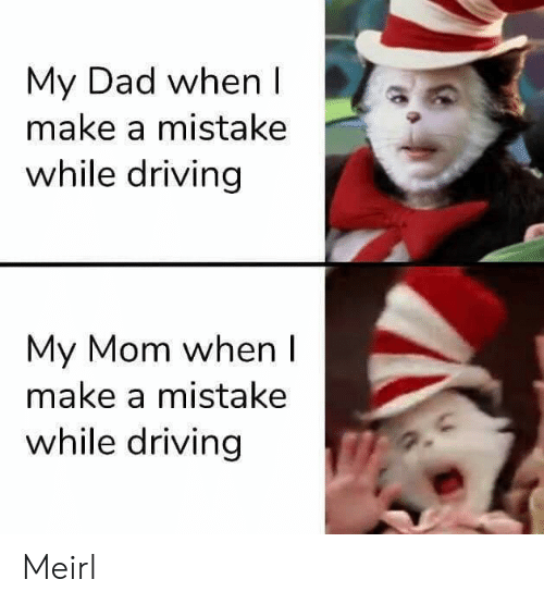 Dad, Driving, and MeIRL: My Dad when I  make a mistake  while driving  My Mom when I  make a mistake  while driving Meirl
