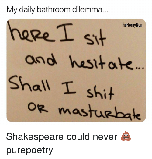 Memes, Shakespeare, and Shit: My daily bathroom dilemma..  TheHornyNun  heeeI s  and hasitak  Shall L shit  oe mostur bale Shakespeare could never 💩 purepoetry