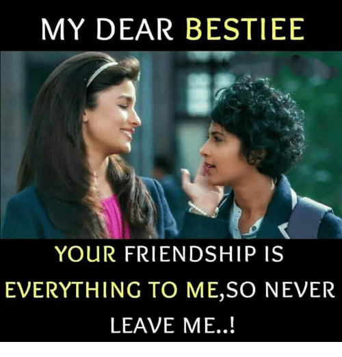 Memes, Friendship, and Never: MY DEAR BESTIEE  YOUR FRIENDSHIP IS  EVERYTHING TO ME,SO NEVER  LEAVE ME..!