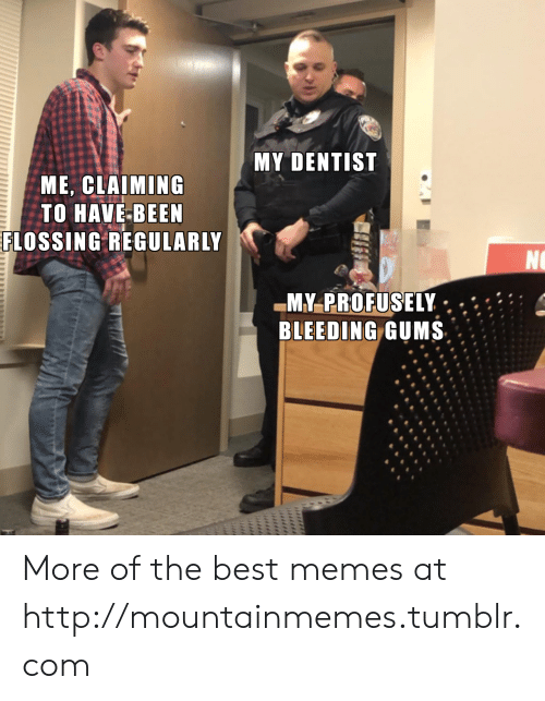 Claiming: MY DENTIST  ME, CLAIMING  TO HAVE-BEEN  FLOSSING REGULARLY  NO  MY-PROFUSELY  BLEEDING GUMS  uliiil More of the best memes at http://mountainmemes.tumblr.com