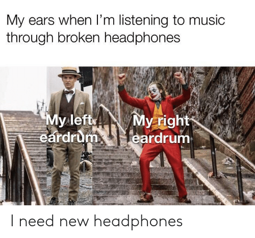 Music, Headphones, and New: My ears when I'm listening to music  through broken headphones  My left  eardrum  My right  eardrum I need new headphones