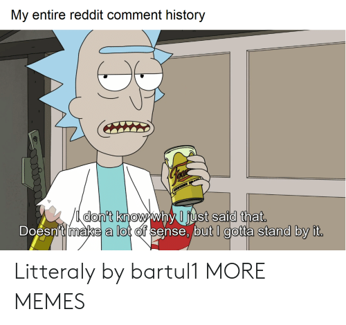 Dank, Memes, and Reddit: My entire reddit comment history  nt Knowwny Just Salal tnat  Doesn't make a lot of sense, but I gotta stand by it Litteraly by bartul1 MORE MEMES