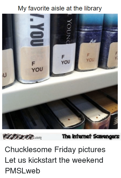 Friday, Library, and Pictures: My favorite aisle at the library  YOU  YOU  YOU  The intemet Scavengers <p>Chucklesome Friday pictures  Let us kickstart the weekend  PMSLweb </p>