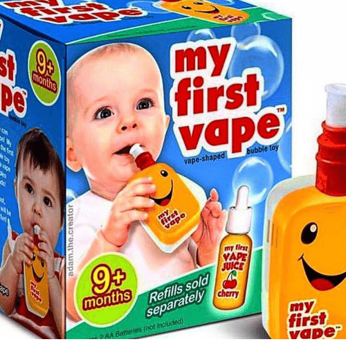 Juice, Vape, and First: my  firsi  non  TM  vape-shapea  bubble toy  my firsg  VAPE  JUICE  0  Refills sold  separatel  months  my  first  vape  3AA Battories(not included)