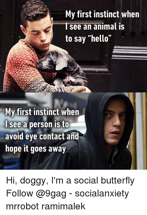 """9gag, Hello, and Memes: My first instinct when  Isee an animal is  to say """"hello""""  My first instinct when  see a person is to  avoid eye contact and  hope it goes away Hi, doggy, I'm a social butterfly Follow @9gag - socialanxiety mrrobot ramimalek"""