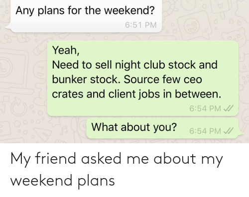 My Weekend: My friend asked me about my weekend plans