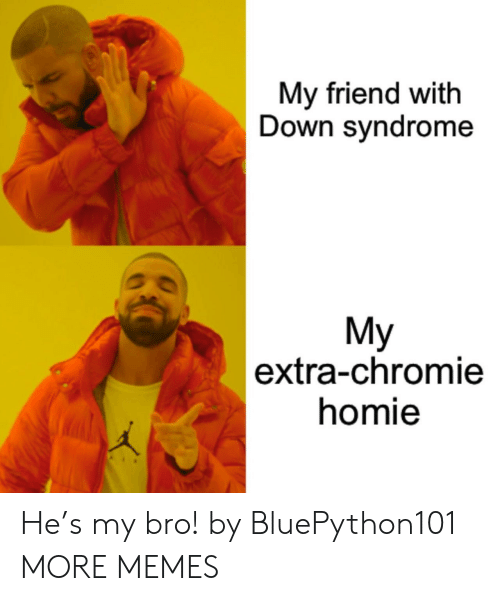 Dank, Homie, and Memes: My friend with  Down syndrome  My  |extra-chromie  homie He's my bro! by BluePython101 MORE MEMES