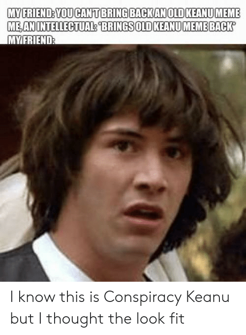 conspiracy keanu: MY FRIEND: YOU CANT BRING BACKANOID KEANU MEME  ME AN INTELLECTUAL BRINGS OLD KEANU MEME BACK  MYFRIEND I know this is Conspiracy Keanu but I thought the look fit