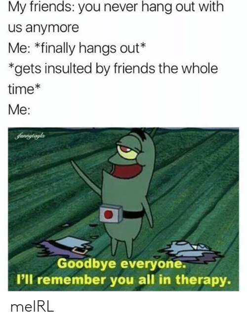 Friends, Time, and Never: My friends: you never hang out with  us anymore  Me: *finally hangs out*  *gets insulted by friends the whole  time*  Me:  Sunnytryla  Goodbye everyone.  I'll remember you all in therapy. meIRL