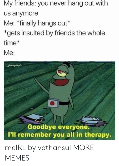 the whole time: My friends: you never hang out with  us anymore  Me: *finally hangs out*  *gets insulted by friends the whole  time*  Me:  Sunnytryla  Goodbye everyone.  I'll remember you all in therapy. meIRL by vethansul MORE MEMES